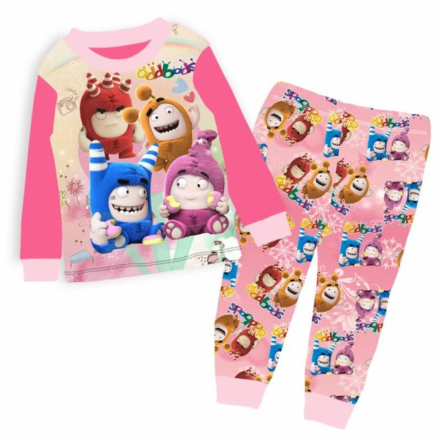 1b6fc10e3 € 21.07 8% de DESCUENTO|Venta al por mayor del bebé niñas Rosa Oddbods  pijamas conjuntos 2018 niños de dibujos animados Pijama Infantil pijamas ...
