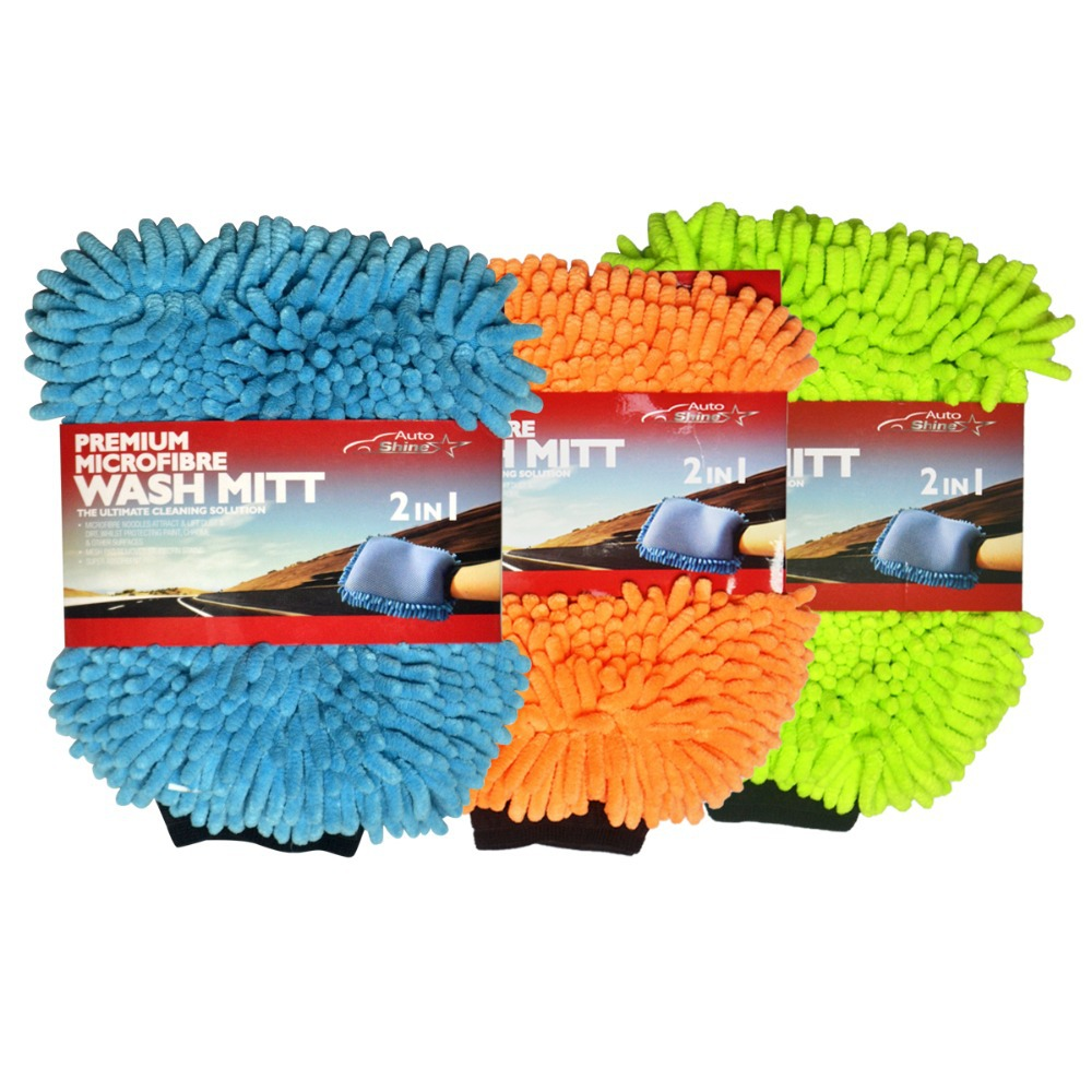 3 Pack Auto Shine 2 IN 1 Microfiber Chenille Car Wash Mitt/Glove Blue Green Orange 3 Colors Available Now Car Cleaning Pad assorted colors tagboard 12 x 9 blue canary green orange pink 100 pack