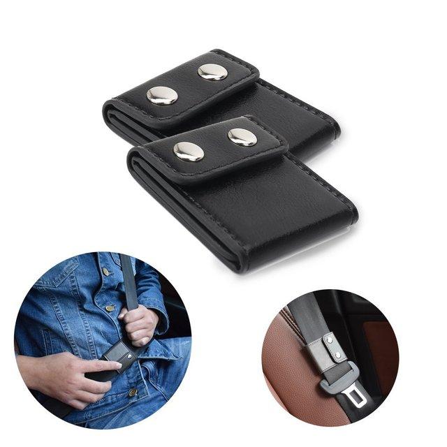Lonleap Car Seat Belt Adjuster Shoulder Neck Strap Locking Clip Protector For Safe Belt Additional Safe PU Leather Pad