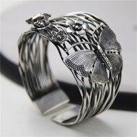 JINSE Европе продажи 925 тайский серебряный Полые открытие браслет Геометрия Бабочка Цветы Браслеты браслет 40 мм Ширина 56 г wtb081