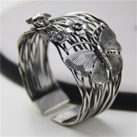 JINSE Europe Selling 925 Thai Silver Hollow Opening Bracelet Geometry Butterfly Flowers Bracelets Bangle 40mm Width 56G WTB081