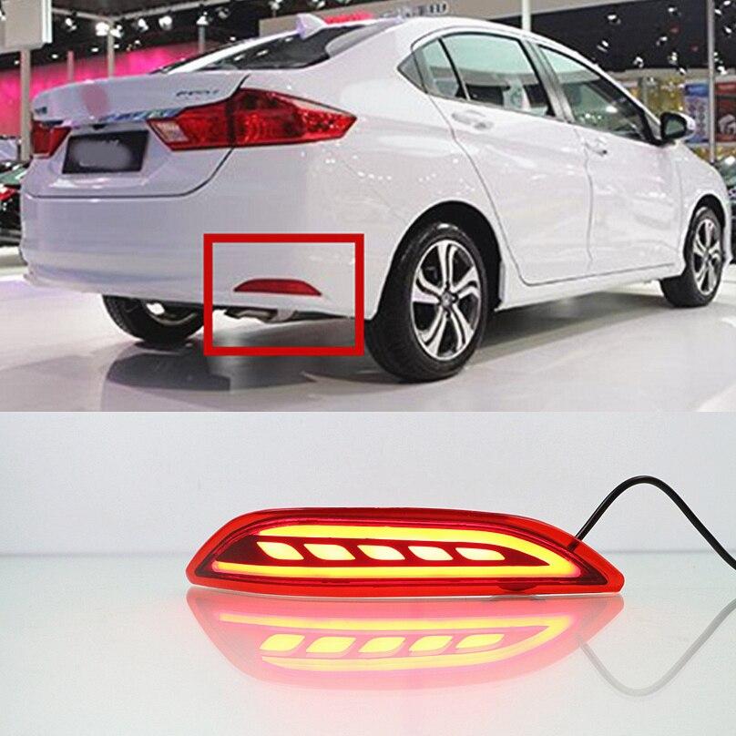 Car Flashing For Honda City 2014 2015 2016 LED rear bumper lights brake tail light reflector running daytime running reflector