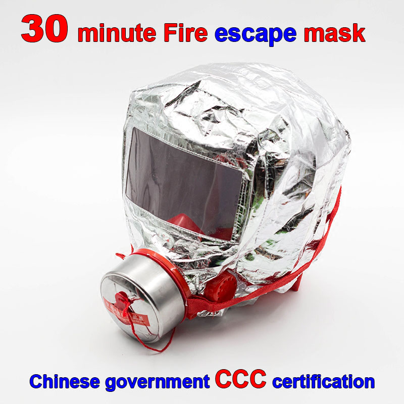 30 minutos máscara de escape de fuego certificación 3C forzado respirador de fuego máscara de gas de escape de emergencia máscara respiradora