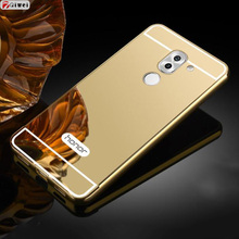 Phone Case For Huawei Honor 6X Cases Aluminum Metal Bumper Frame Acrylic Mirror Back Cover For Coque Huawei GR5 2017 Case Capas