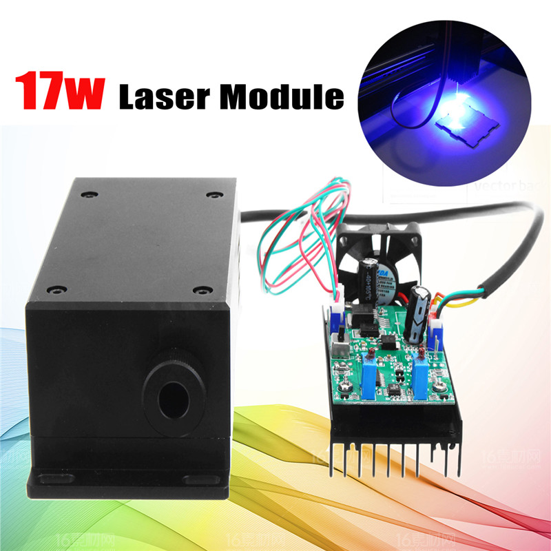 450/445nm 17W High Power Laser Head Engraving Module Adjustable Focal 17000mw Blue Laser Module DIY Wood Metal Engraving Machine blue violet laser 1000mw 445nm adjustable focus 12v high power laser head laser module 1w for diy laser engraving machine page 9