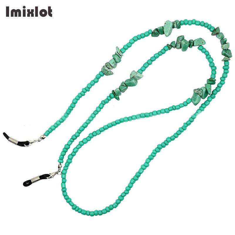 Imixlot Green Natural Stone Beaded Sunglass Eyeglasses Reading Glasses Chain Cord Holder Neck Strap Rope