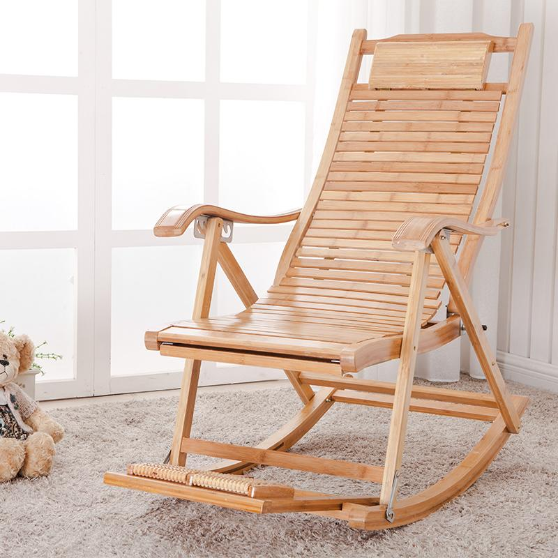 Bamboo Folding Chair Lunch Break Recliner Rocking Chair Happy Elderly Enjoy  The Cool Summer Terrace Casual Office Chairs In Sun Loungers From Furniture  On ...