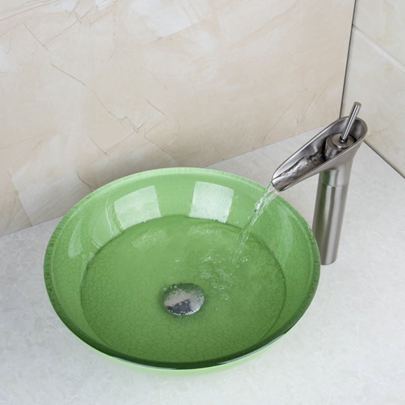 Torayvino Green Round Tempered Glass Wash Basin Vessel Sink With Nickel  Brushed Bathroom Faucet Glass Sink Set U0026Pop Up Drain In Bathroom Sinks From  Home ...