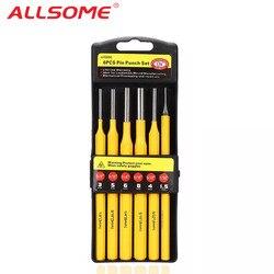 ALLSOME 6 sztuk 150mm Pin Punch zestaw zestaw stałe otwór dziurkacz dłuta obróbki konserwacji drewniane narzędzie do drewna w Dłuta od Narzędzia na