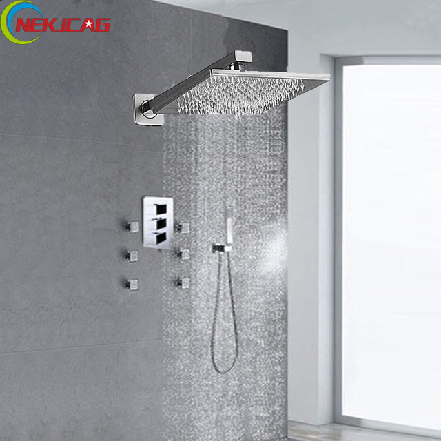 Thermostatic Bath Shower Faucet Massage Jets Systerm 8 Head Brass Hand Mixer Tap
