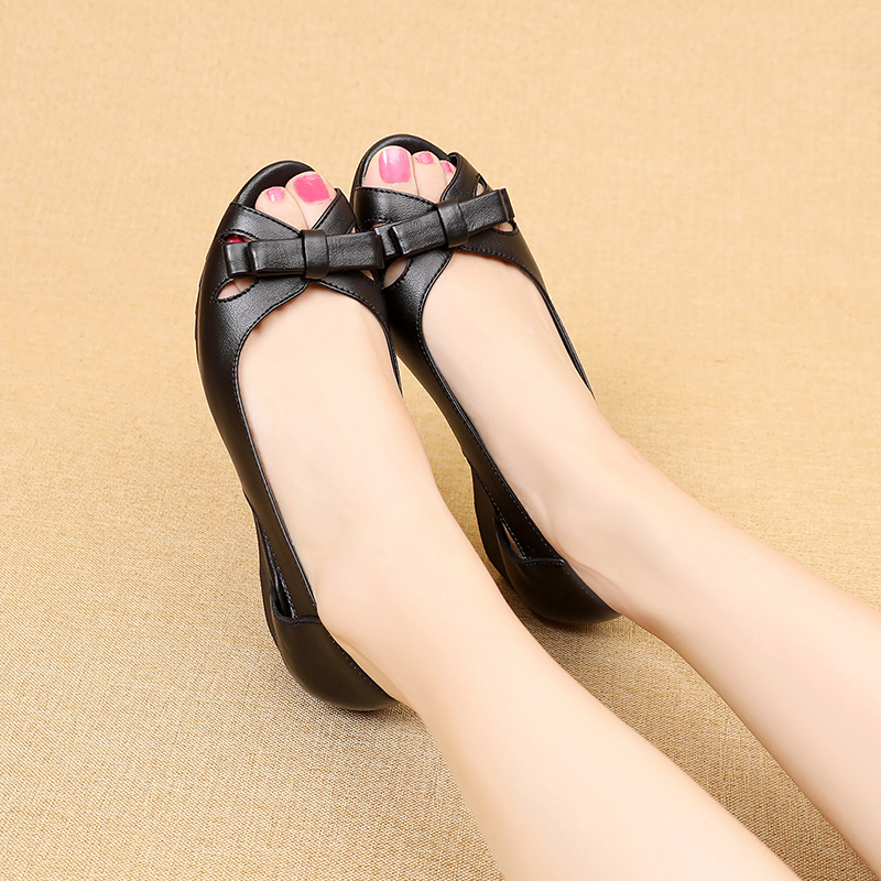 Image 4 - GKTINOO 2020 Summer Women Shoes Woman Genuine Leather Platform Sandals Open Toe Mother Wedges Casual Sandals Women SandalsLow Heels   -
