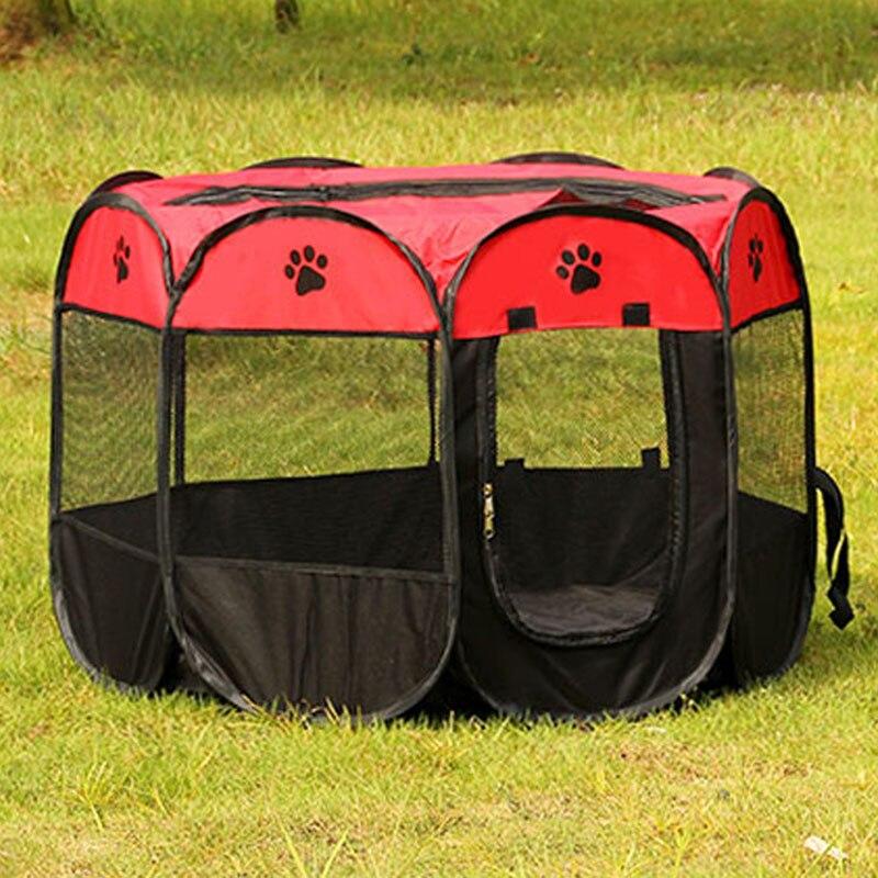 Купить с кэшбэком HOT Portable Folding Pet tent Dog House Cage Dog Cat Tent Playpen Puppy Kennel Easy Operation Octagonal Fence outdoor supplies