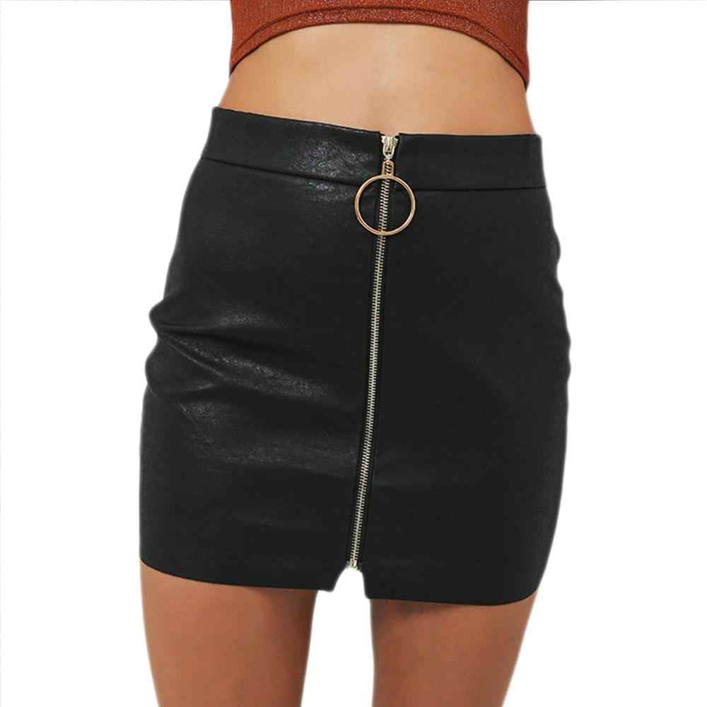 Sexy Skirts Womens Sexy High Waist Skirt PU Leather Autumn Metal Hoop Zipper Pencil Skirt Slim Mini Skirt faldas mujer moda 2019