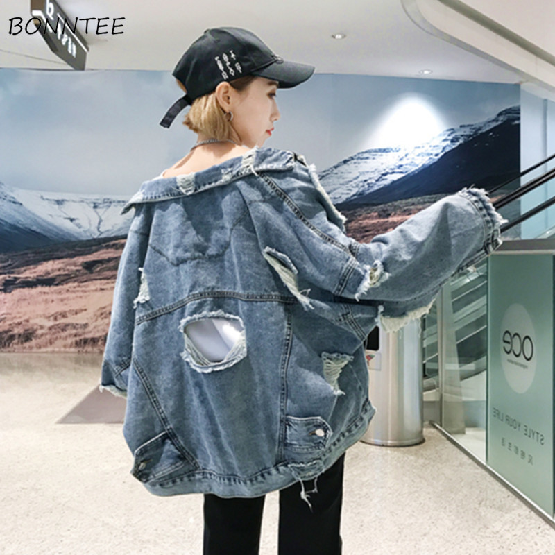 Jackets   Women Loose Hip-hop Harajuku Hole Students Demin   Basic     Jacket   Korean Style All-match Womens Pockets Leisure Simple Daily
