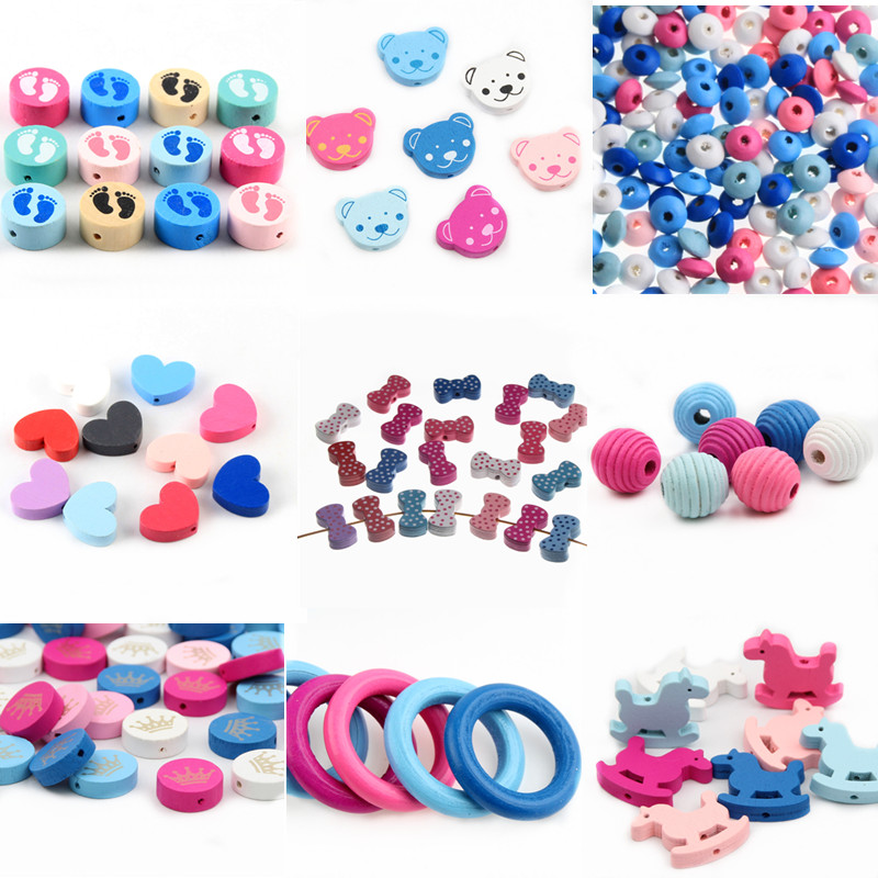 Variety Wooden Beads Spacer Beading Wood Beads Toys for Baby Kids Toys Jewelry Makeing DIY Bracelet Necklace