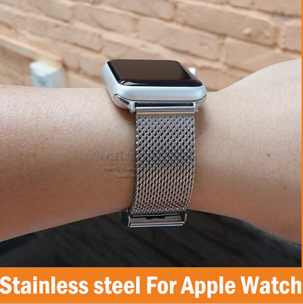 new concept 6ee3f ba428 US $69.99 |Luxury For Apple Watch Band 38mm 42mm Milanese Loop Woven  stainless steel With Metal Adapter Case For iwatch Watchbands-in Watchbands  from ...