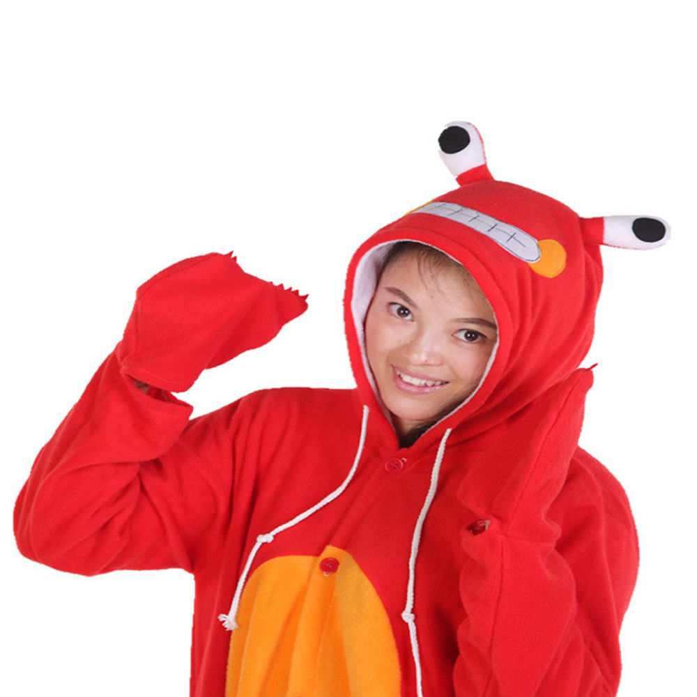 Hot Sales Red Crab Adult Ladies Onesie Homewear Novel Costume Girls Jumpsuit Pajamas Nightgowns Women Sleepwear Long Sleeve Size