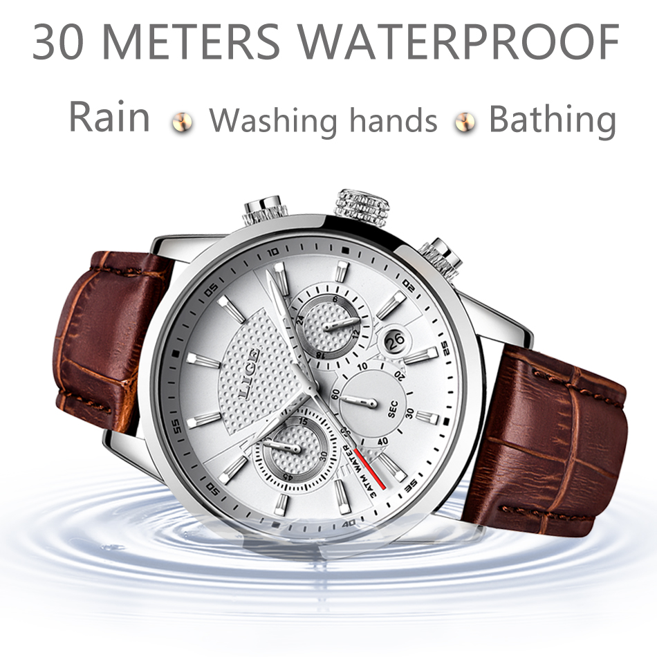 LIGE Mens Watches Gift Top Luxury Brand Waterproof Sport Watch Chronograph Quartz Military Genuine Leather Relogio Masculino 4