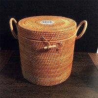 2018 Vietnam rattan handmade products storage box organizer creative Pu'er tea cake packaging gift box storage box food containe