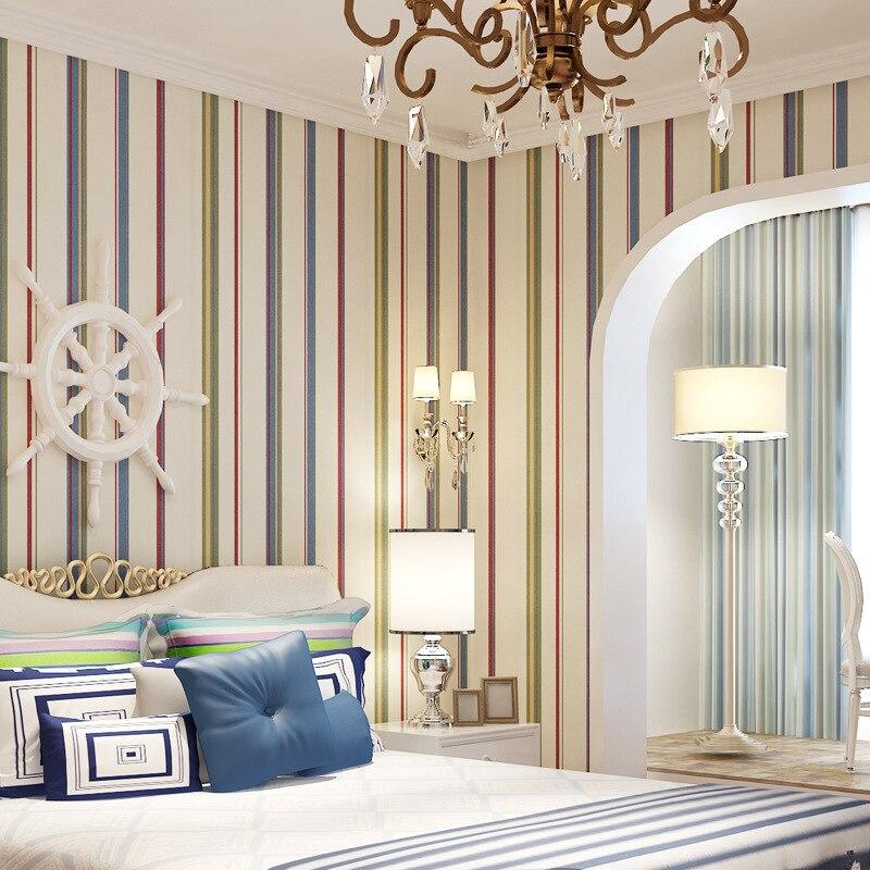 Aliexpress.com : Buy Modern Rainbow Striped Wallpaper Roll