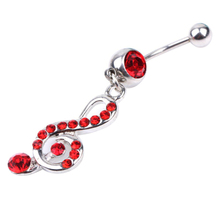 2015 hot sell Trendy Rhinestone Music Note Dangle Ethic Belly Ring Body Piercing for Decoration 56F9