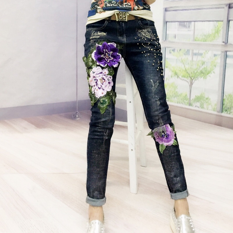 3D Floral Embroidery Jeans Autumn New Women Fashion Embroidered Flowers Woman Elasticity Beaded Skinny Denim Pencil Pants L1200 a three dimensional embroidery of flowers trees and fruits chinese embroidery handmade art design book