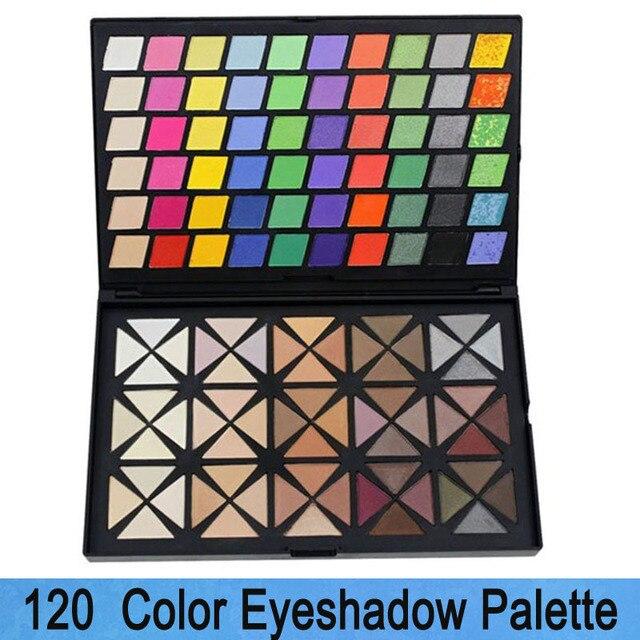 2016 Nuevo Profesional 120 Colores de Sombra de Ojos brillo de Labios de Color Maquillaje Pro Set Completo Kit Paleta de Colorete Cosméticos Polvo Compacto