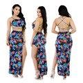 Nova moda verão 2016 2 peça set mulheres sexy sem mangas off the shoulder bandage backless high side dividir vestidos de impressão TX190