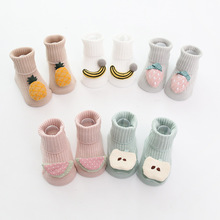 YOOAP  Baby Cotton Socks Pure Color With Cute 3D Cartoon Fruits Infant Anti-slip Floor Soft For Newborns 0-18Months