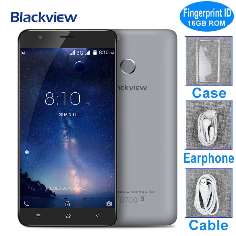 bilder für Original Blackview E7S Fingerabdruck Handy 5,5 zoll MTK6580A Quad Core Android 6.0 2 GB RAM 16 GB ROM 8MP Kamera 3G Smartphone