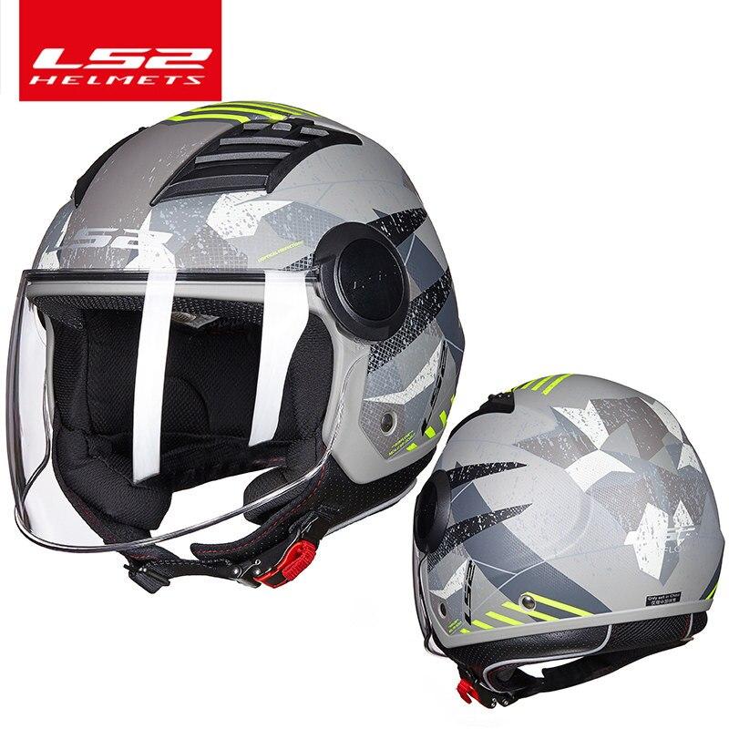 LS2 flux d'air moto casque 3/4 face ouverte d'été jet scooter demi de visage de moto helm capacete casco LS2 OF562 vespa casques