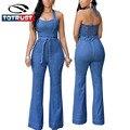Sensuais Macacão Jeans Mulheres Jumpsuit Romper 2016 Moda Denim Jeans Rompers Mulheres Jumpsuit Magro Macacão de Uma Peça macacão