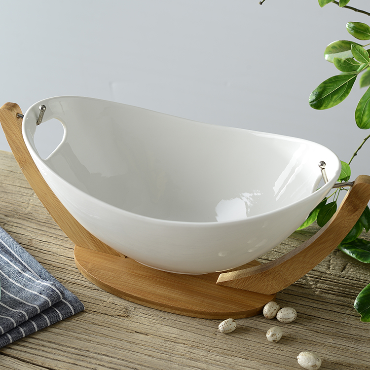 Hanging Ceramics and Bamboo Salad Bowl with Stand Decorative Porcelain Household Cradle Fruit Tray with Spoon Tableware Ornament-in Bowls from Home \u0026 Garden ... & Hanging Ceramics and Bamboo Salad Bowl with Stand Decorative ...