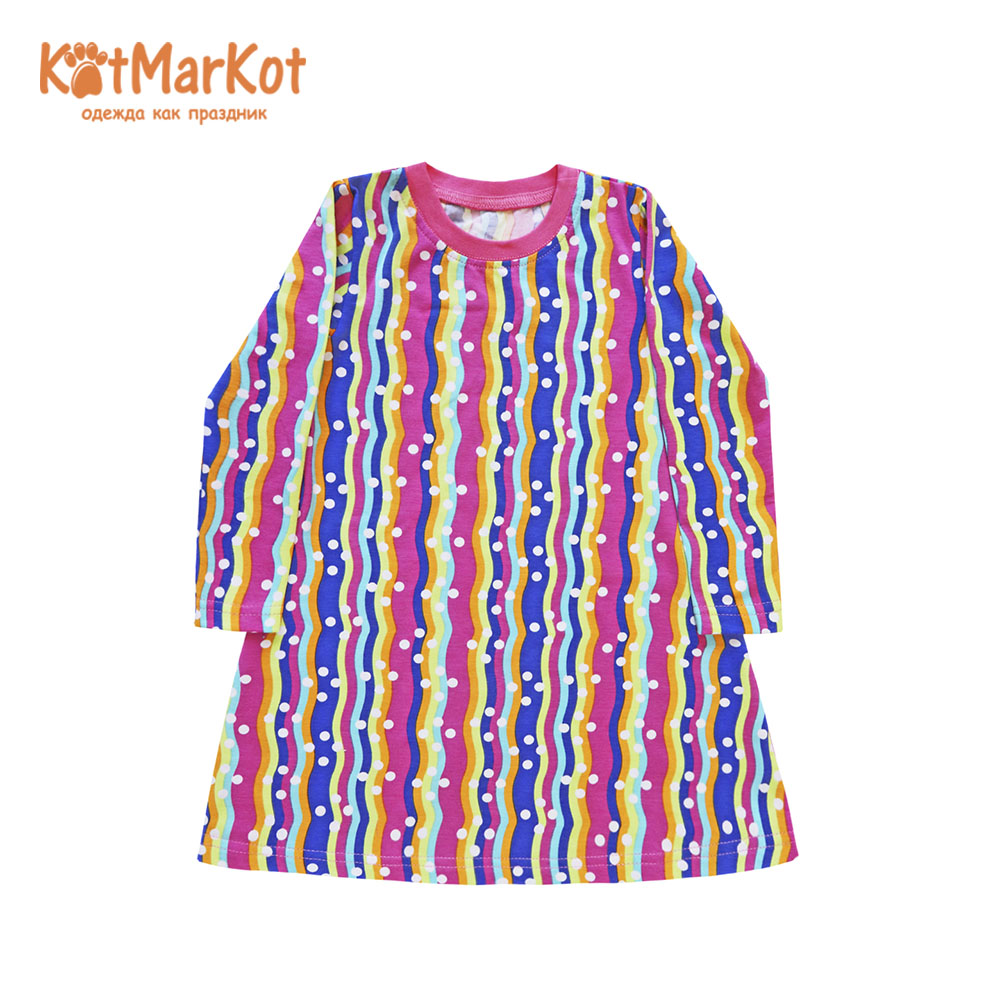 Фото - Dresses Kotmarkot 21768 shirt baby dress for a girl tunic summer  Cotton Casual plus lace insert floral tunic dress