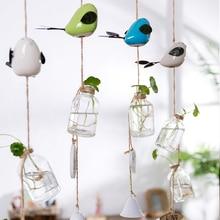 Creative Pastoral Hanging Glass Flower Vase Hydroponic Plants Pot Ceramic Birds Wind Chimes Window & Door Decor Bell
