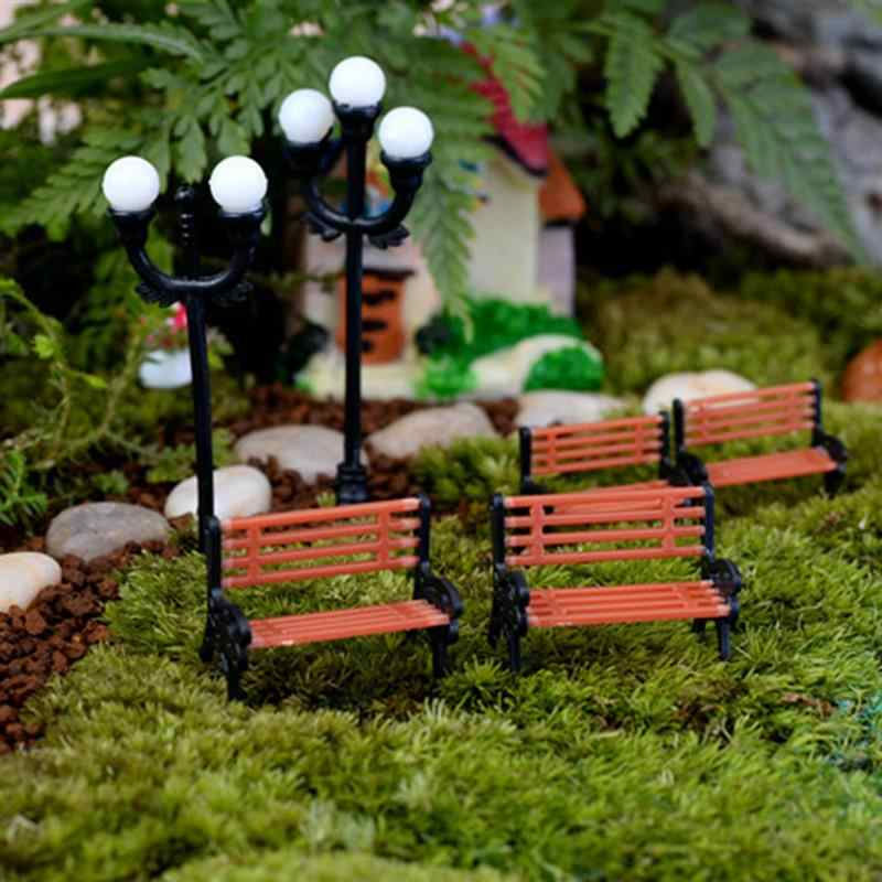 2pcs/set Mini Chair Bench Miniatures Fairy Garden Ornaments Figurines Toys Home Decor Dollhouse Accessories