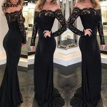 Fashion Lace Spliced Autumn Women Party Dress Sexy Slim Long Sleeve Elegant Maxi Dresses Womens Clothing S M L XL Xnxee