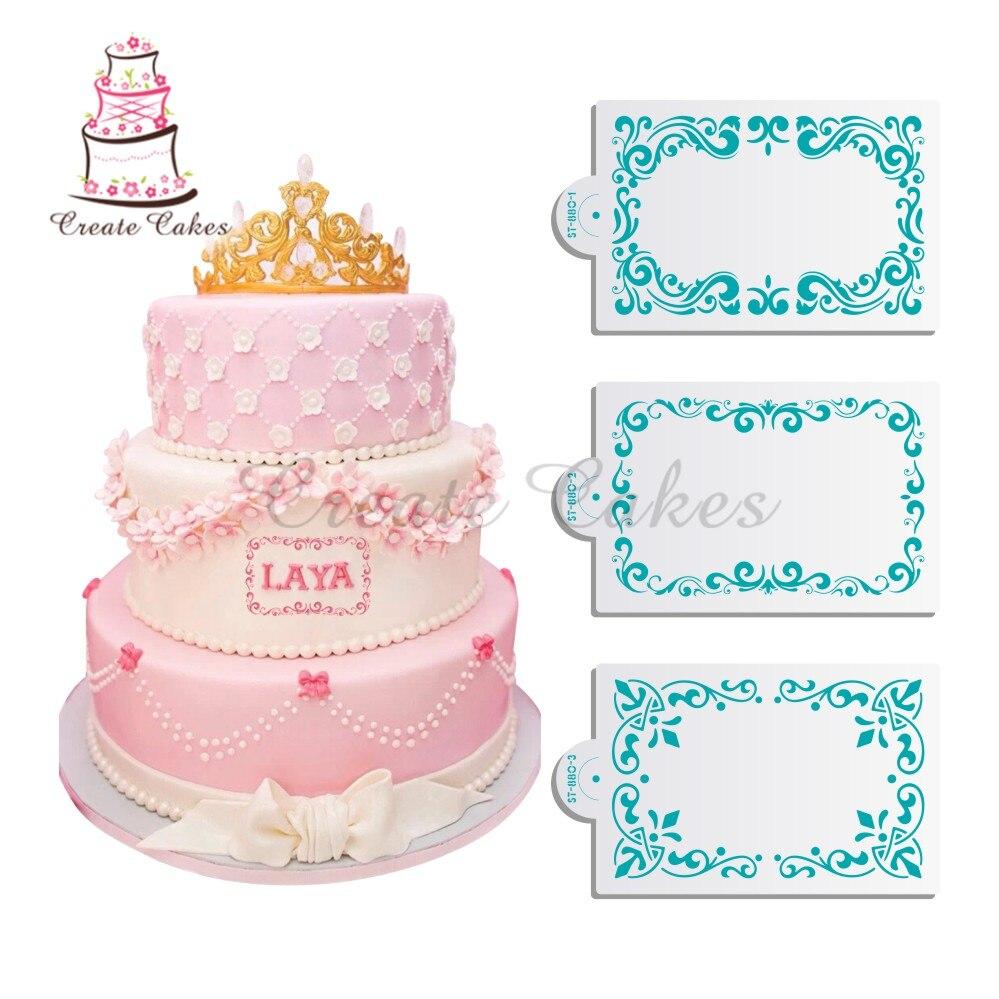3pcs picture frame cake stencil cake decorative stencil for baking mold plastic stencil for fondant sake