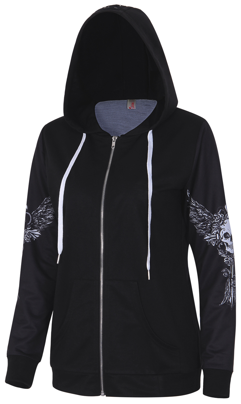 Hoodies Sweatshirt Women Angel Wing Skull Print Zip
