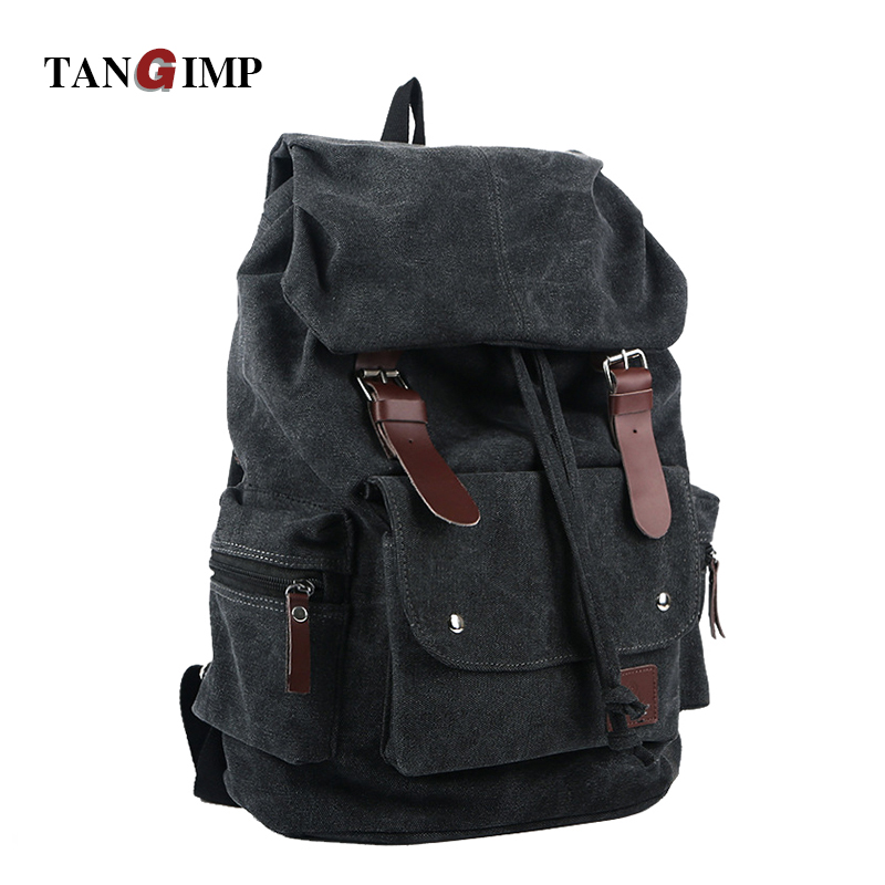 TANGIMP Vintage Backpack Casual Women Daily Canvas Bag Student Schoolbag Retro Punk Drawstring Travel Backpack mochila masculina