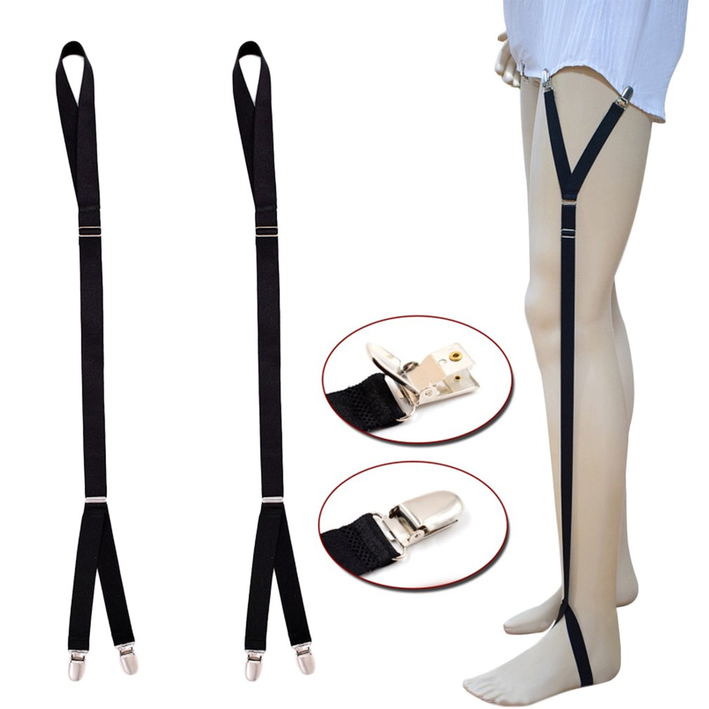 Adjustable Shirt Holders Y-shape Shirt Stays Garters Elastic Crease-Resistance Belt With Strong Metal Clips Suspenders For Men