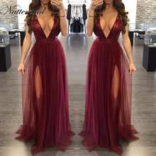 NATTEMAID 2017 New year Sexy Women Red Dress Fashion Brand new Maxi long mesh Dresses vintage Floor length sequin Vestidos(China)
