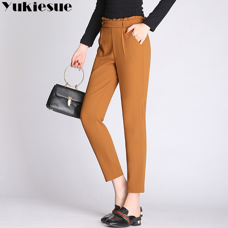 OL office trousers women 2018 summer autumn elastic waist skinny casual harem pants capri women plus size pantalon femme mujer
