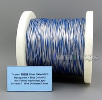 LN005657 7 cores Litz Silver Plated OCC Transparent + Blue Color PU (Not Tefl) Insulating Layer 0.16mm*7 Wire Diameter:0.9m