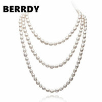 REAL PEARL Freshwater Cultured Pearl Necklace Long Pearl Jewellery 7 8mm for Valentine's Day Lady's Gift 3 Color