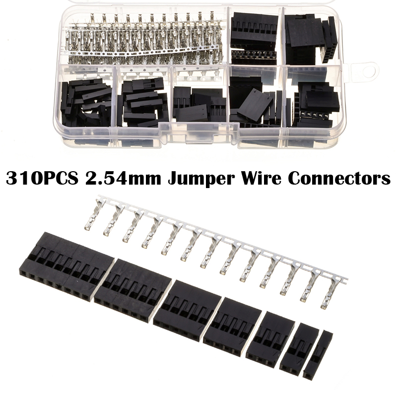 YT 310Pcs/Box 2.54mm 1/2/3/4/5/6/8 Pin Header Male Female Crimp Connectors Housing Dupont Jumper Cable Wire Pin Connectors diy hf 4 pin male female jack set adapters connectors black silver 2 pcs