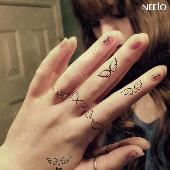 Women Beautiful Temporary Tattoos Small Angel Love Wings Black Green