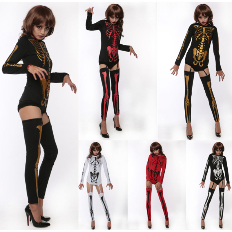 Adult Halloween Costume Women Fashion Sexy Coverall Elastic Long Sleeve Skeleton Bone Print Halloween Clothes Fitness+Bone Socks
