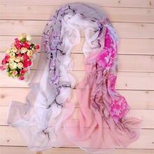 Женский шарф с принтом мягкие дышащие шифоновые шарфы утонченные