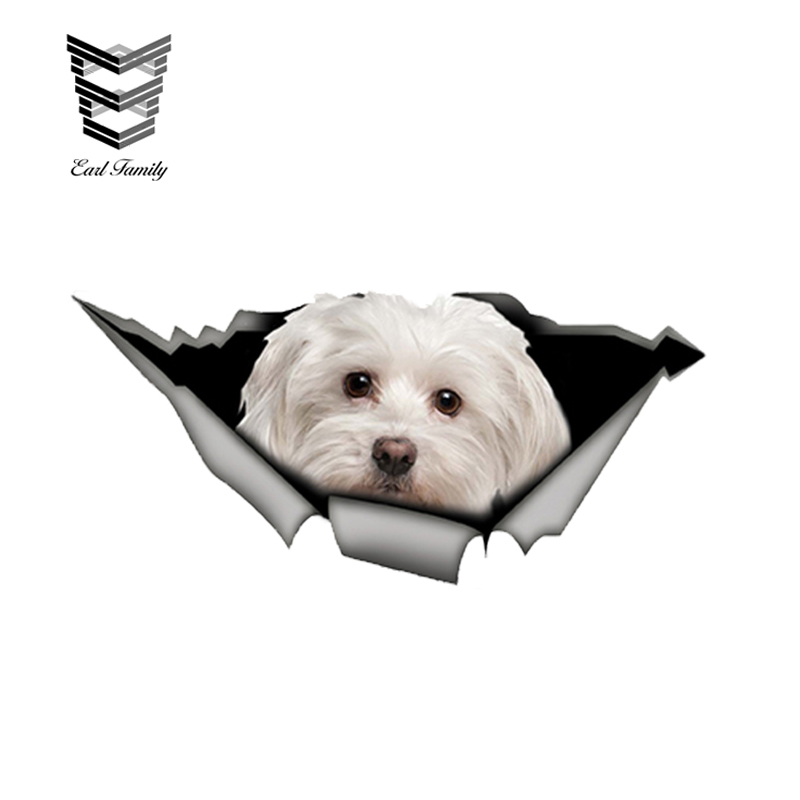 EARLFAMILY 13cm X 6cm Cute Maltese Car Sticker Pet Dog Car Decoration Torn Metal Decal Reflective Sticker Waterproof Car Styling